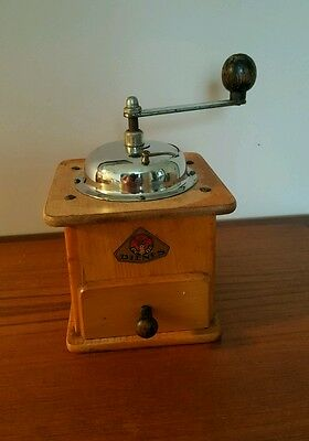 Vintage Wooden German Dienes PeDe Spice Coffee Grinder Mill