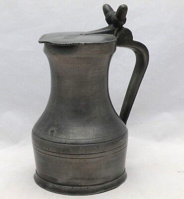 Antique Lidded Pewter Tankard Half Pint Measure with Acorn Finial