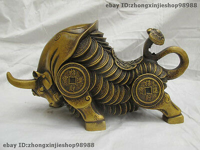 Chinese Folk Classic Fengshui Bronze Lucky Wealth Coin Money OX Bull Statue
