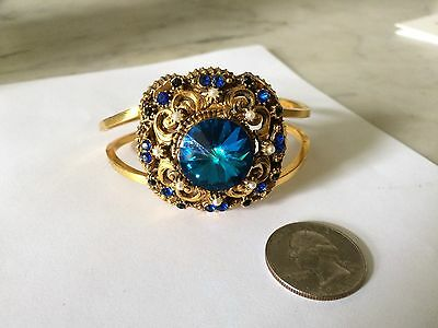 Vtg '1960 JULIANA  blue crystal rhinestone clamper bangle bracelet