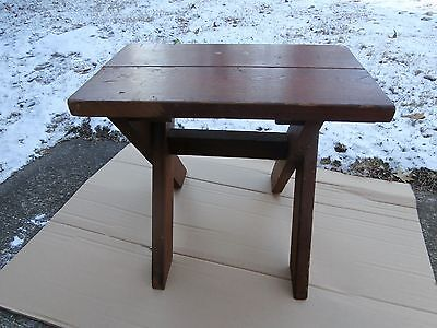 Vintage Antique Handmade Redwood Foot Stool/ Picnic Bench