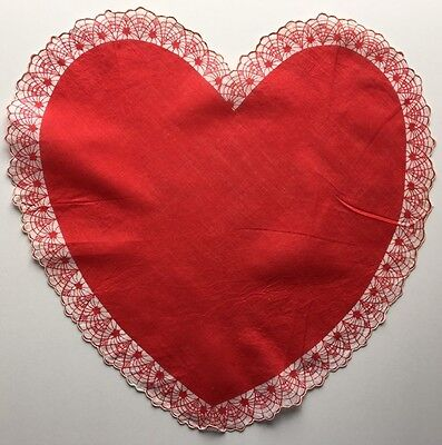 Vintage Valentines Hankie-Heart Shaped with White Border