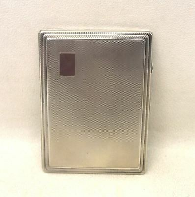 Vintage Solid Silver Machine Engraved Rectangular Cigarette Case From 1938