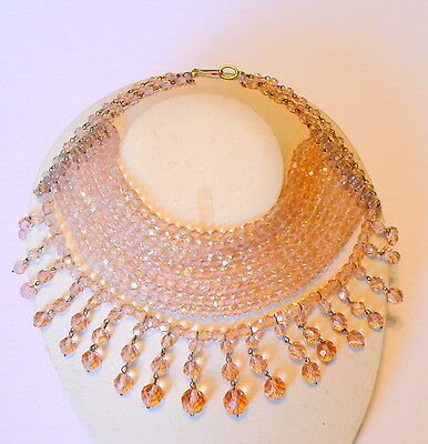 Vintage French or Italian Coppola e Toppo Style Pink Crystal Choker Necklace