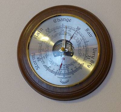 Daymaster Barometer & Thermometer Set in Real Wood Mount - Fully Working