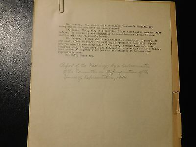 1944 Manuscript About Changing Name Freedmen's Hospital African American
