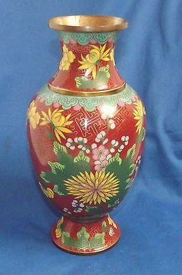 Antique Chinese Cloisonné Chrysanthemum's  10 inch Vase Signed CHINA only Mint
