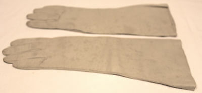 Vintage Long Off-White/Taupe Leather Gloves-Gauntlet Sleeve - Size 7.5