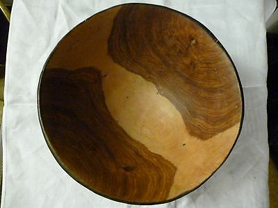 wooden bowl hand carved African design 2 tone 10 ins diameter heavy