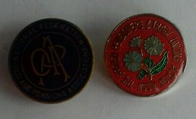 Two Pensioners Associations Trade Union Badges