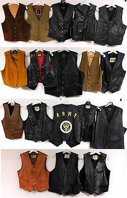 Lot of 18 Vintage Leather Vests Motorcycle Biker Cowboy Bermans Scully Gibson