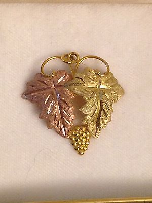 Landstroms Solid Gold Grape Cluster And Leaves Black Hills Gold Pendant 10 K