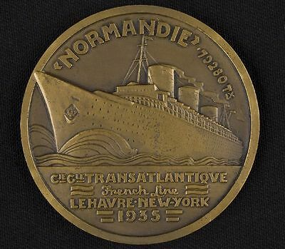Rare French Line bronze medal commemorating passenger liner Normandie