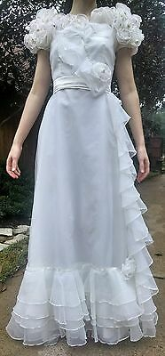 white 40's 50's vintage wedding debutante evening gown formal long dress small