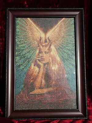 cross stitch embroidered angel demon completed work framed