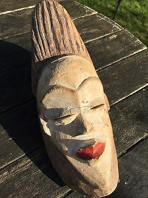 Authentic African Art Hand Carved Punu Gabon  Wooden Mask