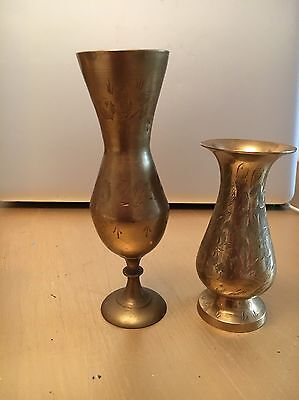 Vintage Indian Etched Brass Stem Vases X 2 - Lovely Condition