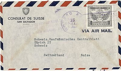 Suisse Salvador 1951 lettre cover brief Consulat Suisse Zurich UPU Switzerland