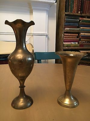 Two Vintage Indian Brass Stem Vases - Lovely Condition