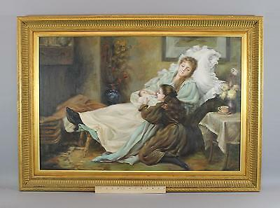 Large Framed O/C Oil Painting Young Mother, Baby & Daughter, NR