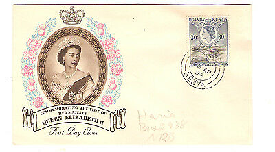 First Day Cover Queen Elizabeth II Visit to Uganda Kenya 1954 Coloured Picture