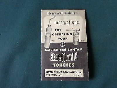 Vtg manual Instructions for Operating Your Master Bantam Bernz-O-Matic Torches