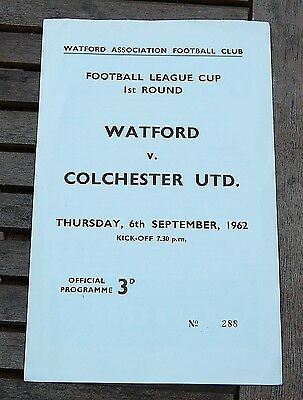 Watford v Colchester United 1962/63 League Cup Football Programme