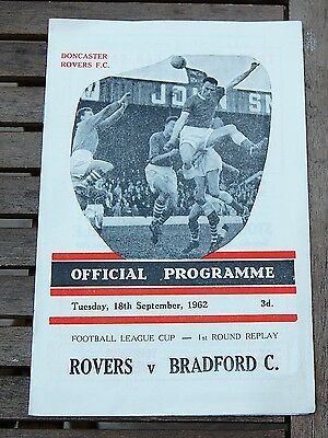 Doncaster Rovers v Bradford City 1962/63 League Cup Football Programme