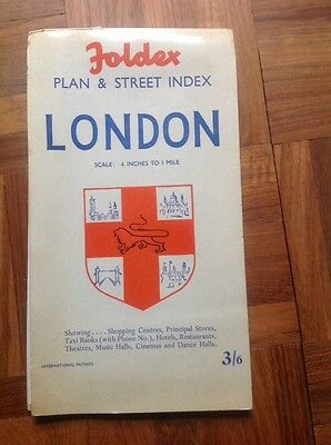Foldex Plan and Street Index LONDON Map Scale 4 inches to 1 mile Vintage