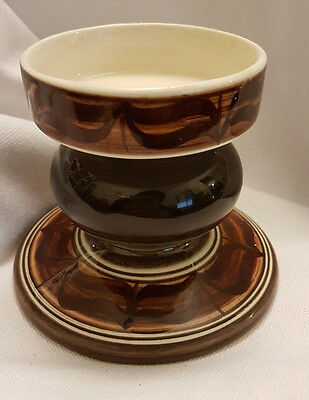 Jersey Pottery Brown / Beige Large Candle Holder 8Cm Tall (60Mm Candle Diameter)