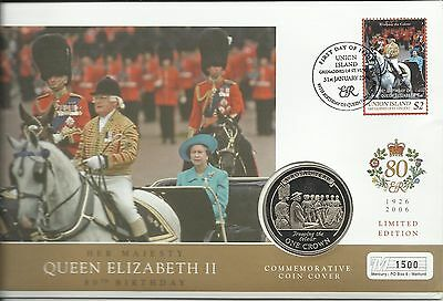 UNION ISLAND QE11 2006 80th BIRTHDAY TROOPING THE COLOUR 1 CROWN COIN  FDC MINT
