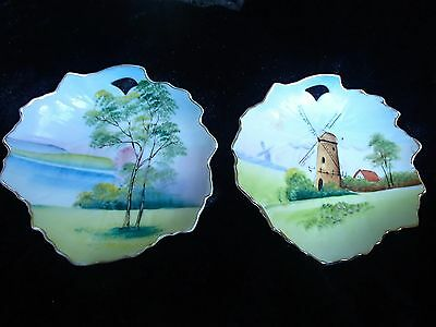 2 vintage hand painted display leaf plates dishes foreign