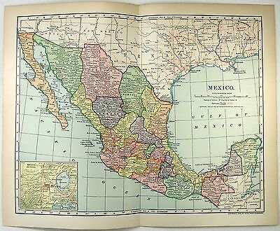 Original 1903 Map of Mexico by Dodd Mead & Company