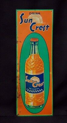 Vintage Original 1940's Drink Sun Crest Embossed Soda Bottle Sign Country Store