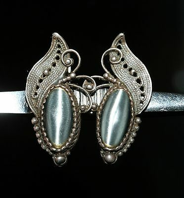 Delicate Rare Filigree Amazing Vintage EARRINGS Silver MOON STONE!
