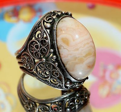 Vintage GIANT AGATE stone Soviet Era Ring Silver 875 USSR Antique size 7.5