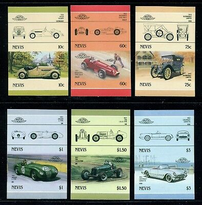 Nevis Michel 348-359 IMPERF Pairs MNH Automobiles Issued 1/30/86 Rare