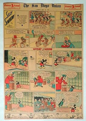 B554. Walt Disney SILLY SYMPHONIES MICKEY MOUSE Newspaper Comic Page (1935) [