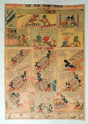 B552. Walt Disney SILLY SYMPHONIES MICKEY MOUSE Newspaper Comic Page (1935) [