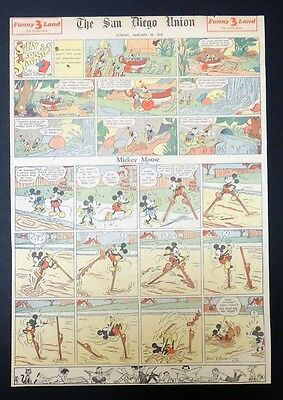 B549. Walt Disney SILLY SYMPHONIES MICKEY MOUSE Newspaper Comic Page (1934) [