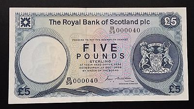 1St Run £5 B59 The Royal Bank Of Scotland Plc + A Super Low Number (B59 000040)