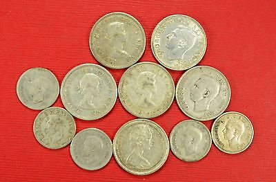 $2.00 Face Value Canadian 80% Silver Dime & Quarters Circulated Condition