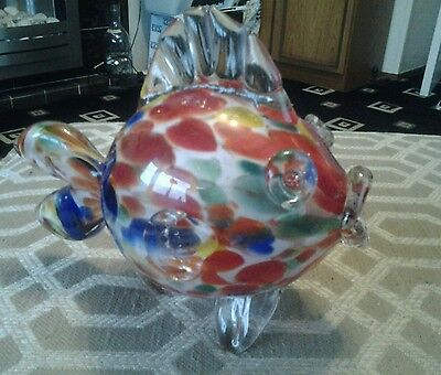 Large cased glass puffer fish