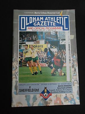OLDHAM ATHLETIC v SHEFFIELD UNITED  LEAGUE DIVISION ONE  7th September 1991