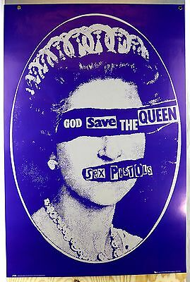 Sex Pistols 2008 God Save The Queen Blue Punk Rock Poster 24x36 Printed In UK NM