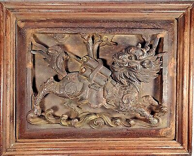 Late Ming Dynasty Chinese Carved Wood Lacquered Qilin Panel