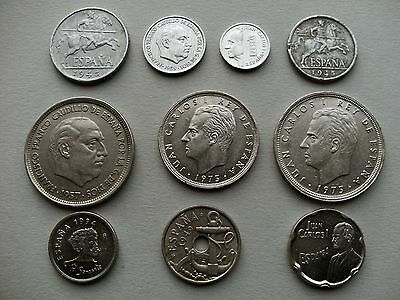 European Coinage Ten Spanish Coins 1945, 1949,1957,1959,1975,1989,1990, & 1994.