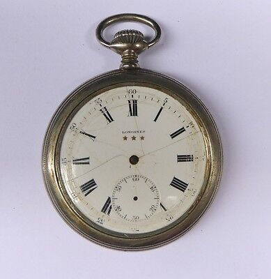 Antique Longines pocket watch.Open face.s:4434136. Swiss made.Parts or repair.