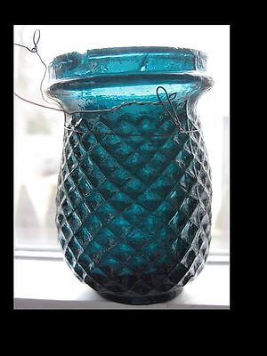 Antique Victorian Christmas Fairy Light Candle Holder Dark Teal