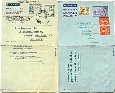Aerogrammes (Air Letters).fdc Rhodesia 1955.nyasaland Posted Not Cancelled 1964